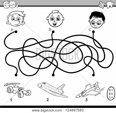 Black and White Cartoon Illustration of Educational Paths or Maze Puzzle Activity for Preschool Children with Transport Characters Coloring Book