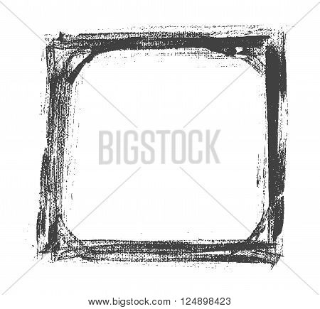 Vector Hand Drown Old Painted Black And White Frame. Vector Illustration