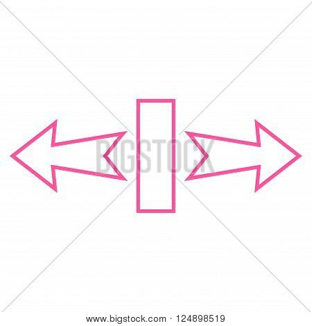 Stretch Arrows Horizontally vector icon. Style is outline icon symbol, pink color, white background.