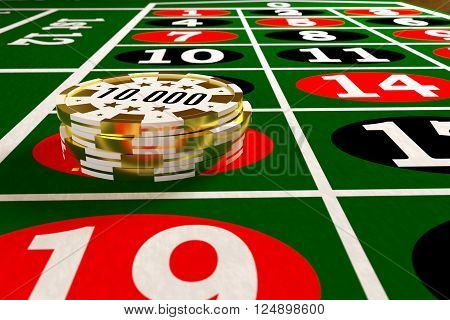 closeup of a tokens stack on the roulette table, 3d rendering