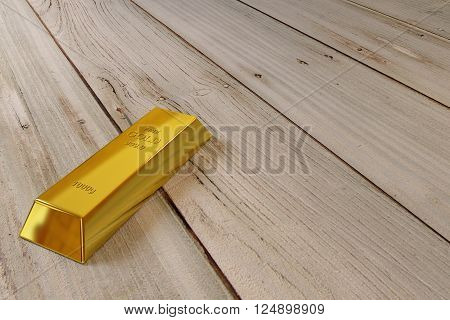 single gold bar on the old planks, 3d rendering