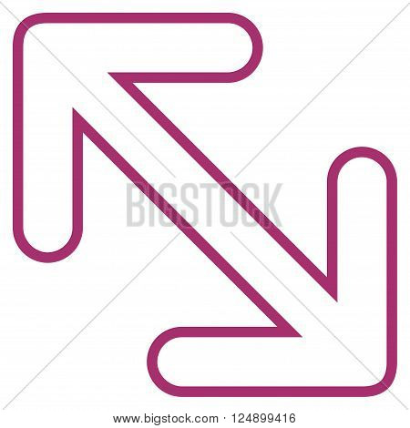 Flip Arrows Diagonal vector icon. Style is stroke icon symbol, purple color, white background.