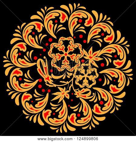 The traditional Russian floral pattern red and yellow on black. Stylization khokhloma. Vector illustration. EPS 8.