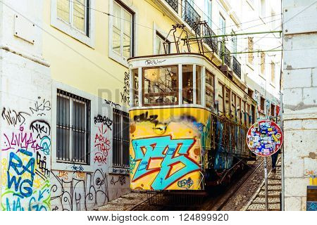Typical,Tramway view in Lisbon, Portugal, Europe