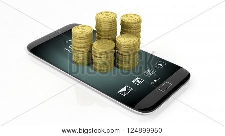 3D rendering of golden Bitcoin stacks on smartphone's screen, on white background.