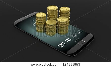 3D rendering of golden Bitcoin stacks on smartphone's screen, on black background.