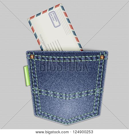 Jeans back pocket with an envelope on a gray background. Vector illustration.