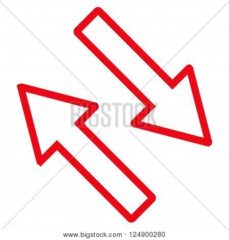 Exchange Arrows Diagonally vector icon. Style is stroke icon symbol, red color, white background.