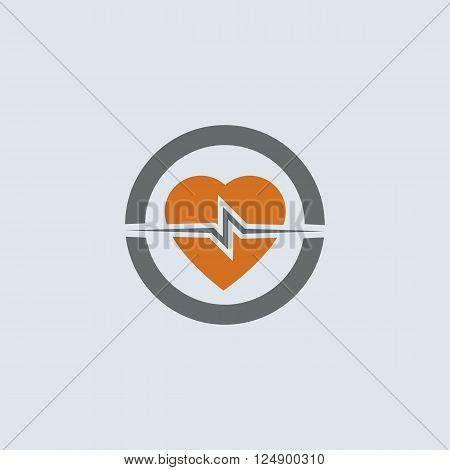 Gray-orange heart with cardiogram round web icon