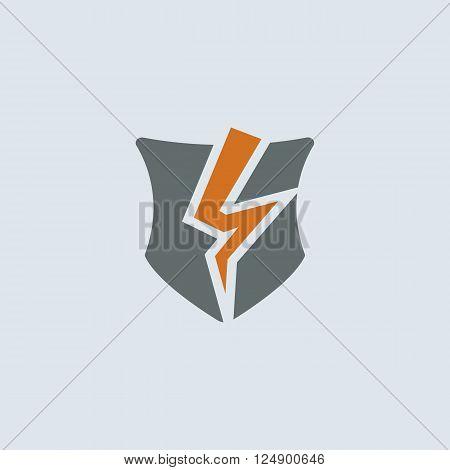 Gray-orange broken shield as a symbol of broken protection round web icon