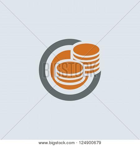 Gray-orange saving symbol of two stacks of coins round web icon