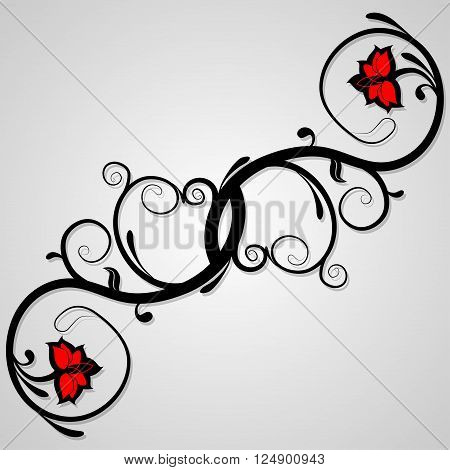 Delicate background of floral whorls. Decorative elements can be used independently. Vector illustration.