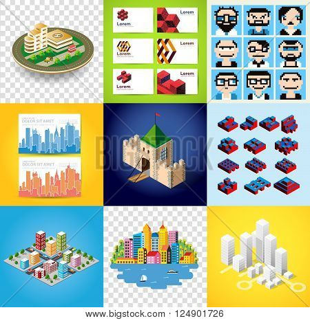 Big bundle set of design templates, design elements, isometric objects buildings