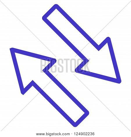 Exchange Arrows Diagonally vector icon. Style is stroke icon symbol, violet color, white background.