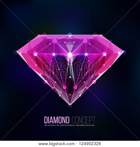 Pink diamond.Vector shape of a color pink diamond isolated on a black background. Molecular sieves, diamond-shaped, geometric pattern in the form of a triangle shapes. Brilliant, gemstone.