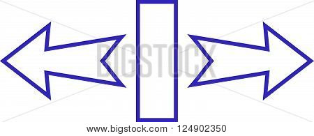 Stretch Arrows Horizontally vector icon. Style is outline icon symbol, violet color, white background.
