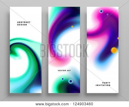 Set of Templates with Watercolor Splashes. Holi Paint Texture. Abstract Bright Colorful Banners Collection. Rainbow Colored Cards Design
