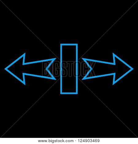 Stretch Arrows Horizontally vector icon. Style is stroke icon symbol, blue color, black background.