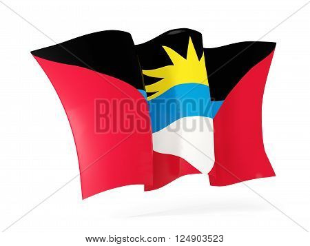 Waving flag of antigua and barbuda isolated on white. 3D illustration