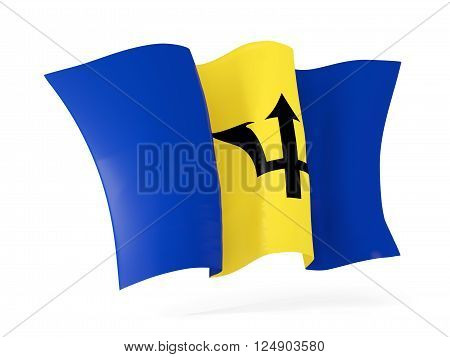 Waving Flag Of Barbados. 3D Illustration