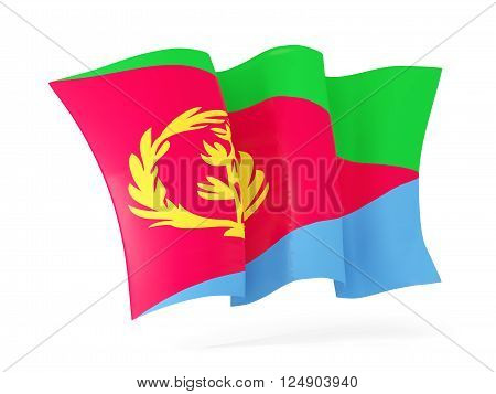 Waving Flag Of Eritrea. 3D Illustration