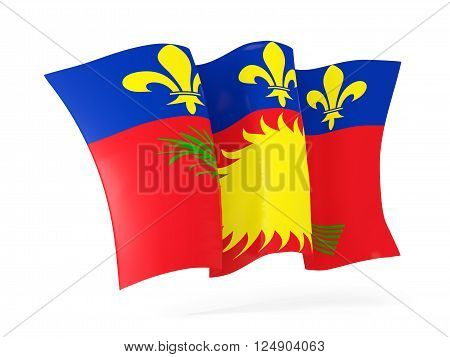 Waving flag of guadeloupe isolated on white. 3D illustration