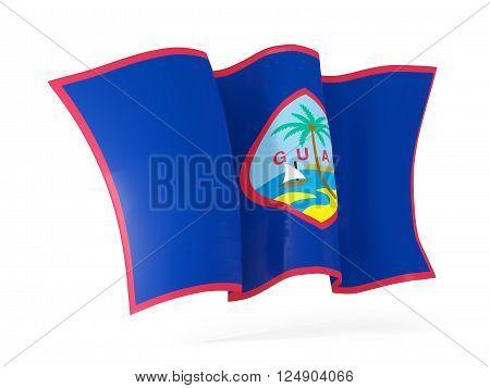 Waving Flag Of Guam. 3D Illustration