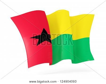 Waving Flag Of Guinea Bissau. 3D Illustration