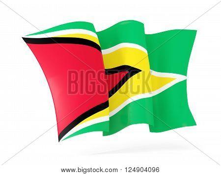 Waving Flag Of Guyana. 3D Illustration