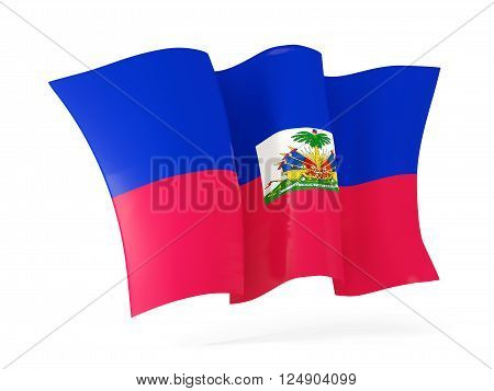Waving Flag Of Haiti. 3D Illustration
