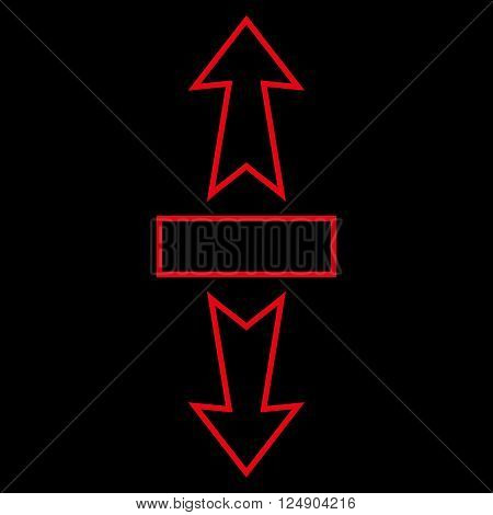 Stretch Arrows Vertically vector icon. Style is stroke icon symbol, red color, black background.