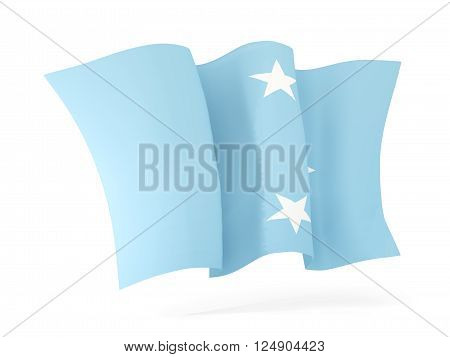 Waving flag of micronesia isolated on white. 3D illustration
