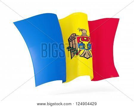 Waving flag of moldova isolated on white. 3D illustration