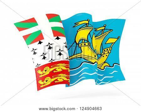 Waving Flag Of Saint Pierre And Miquelon. 3D Illustration