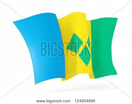 Waving Flag Of Saint Vincent And The Grenadines. 3D Illustration