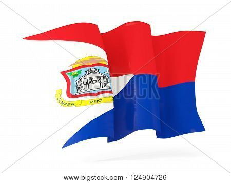 Waving flag of sint maarten isolated on white. 3D illustration