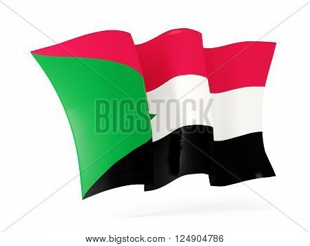 Waving Flag Of Sudan. 3D Illustration