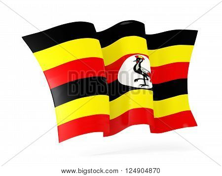 Waving Flag Of Uganda. 3D Illustration