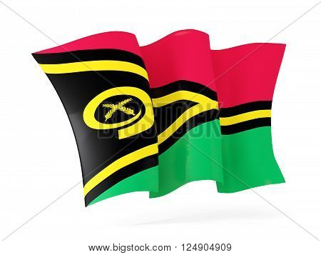 Waving Flag Of Vanuatu. 3D Illustration