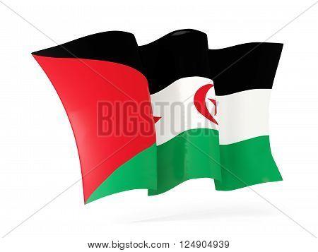 Waving Flag Of Western Sahara. 3D Illustration