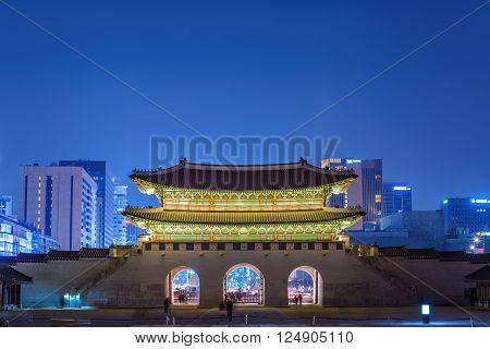 Gwanghwamun Gate at night, Seoul, South Korea