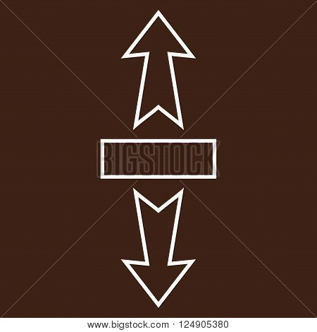 Stretch Arrows Vertically vector icon. Style is outline icon symbol, white color, brown background.
