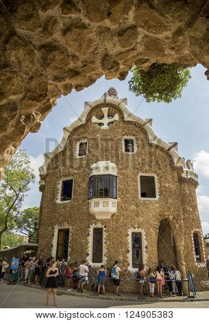 Barcelona, Spain - September 21, 2015: Trencalis covered Gatehouse at entrance to Parc Guell