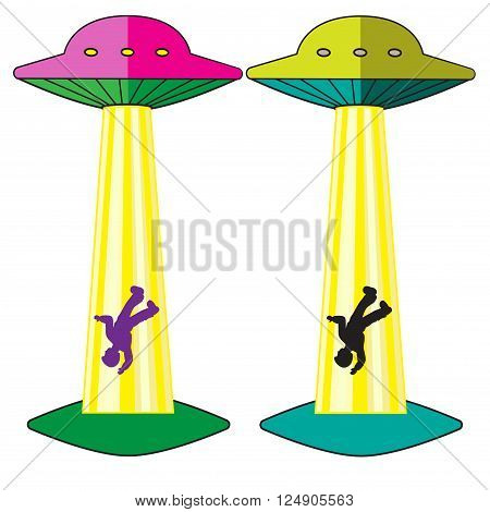 UFO attack and kidnaps the man isolated vector illustration