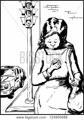 Woman Texting And Crossing Street