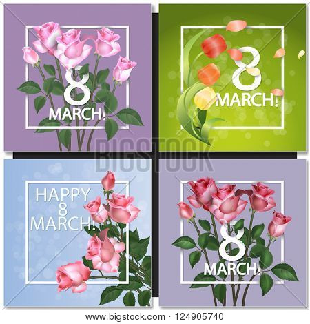Set of Abstract Purple Floral Greeting card - International Happy Women's Day - 8 March holiday background with Frame and roses Flowers. Trendy Design Template. Vector illustration.