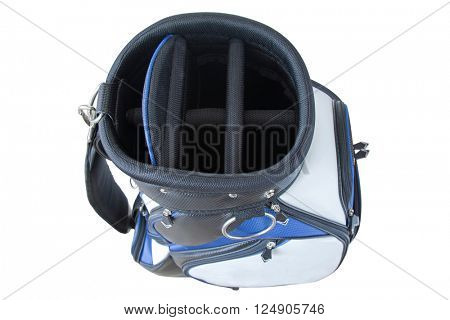 Top view of a multiple pockets golf bag in blue white black with quick release shoulder straps isolated on white background