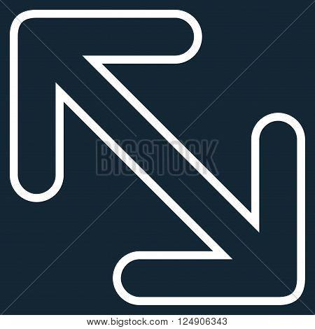 Flip Arrows Diagonal vector icon. Style is contour icon symbol, white color, dark blue background.