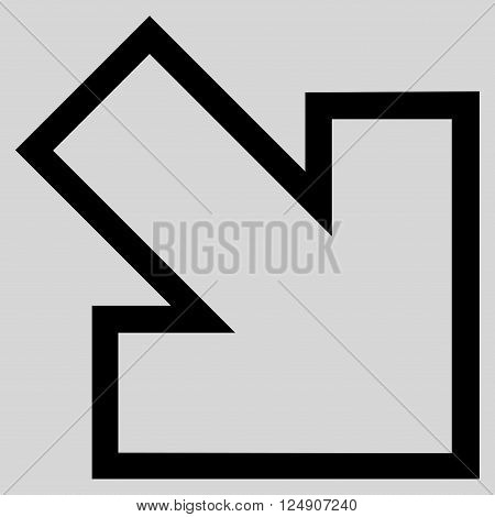 Arrow Right Down vector icon. Style is thin line icon symbol, black color, light gray background.