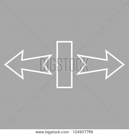 Stretch Arrows Horizontally vector icon. Style is outline icon symbol, white color, silver background.